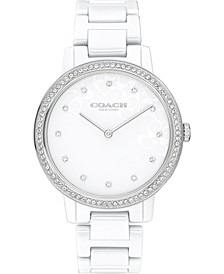 Women's White Ceramic Bracelet Watch 35mm