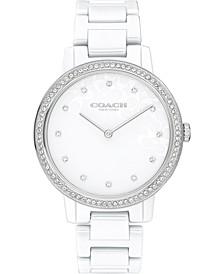 Women's White Ceramic Bracelet Watch 35mm