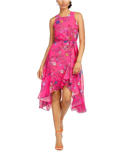 Taylor Floral Clip Dot High-Low Dress