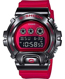 Men's Digital Red Resin Strap Watch 50mm