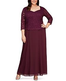Plus Size Lace-Bodice Gown