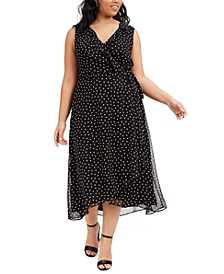 Trendy Plus Size Polka-Dot Midi Dress, Created for Macy's