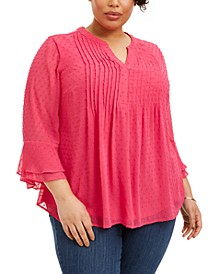Plus Size Double-Ruffle Textured Pintuck Top, Created for Macy's