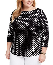Plus Size Cotton Printed Boatneck Top, Created for Macy's