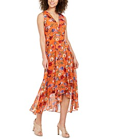 Floral Chiffon Surplice Midi Dress