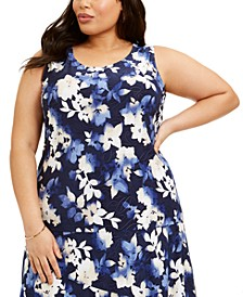 Plus Size Printed Jacquard Tank Top, Created for Macy's