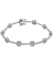 Certified Pink & White Diamond Cluster Link Tennis Bracelet (2 ct. t.w.) in 14k Rose & White Gold