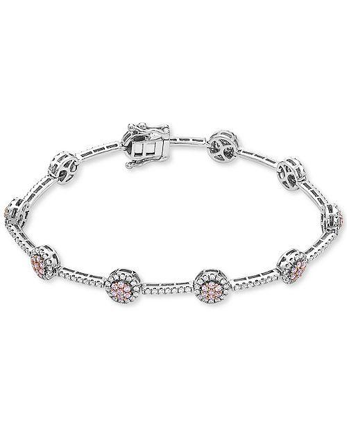 Macy's Certified Pink & White Diamond Cluster Link Tennis Bracelet (2 ct. t.w.) in 14k Rose & White Gold