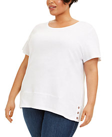 Karen Scott Plus Size Cotton Snap-Detail Shirt, Created for Macy's