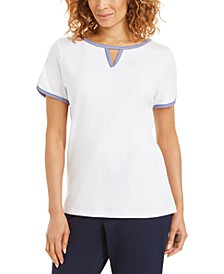 Contrast-Trim Keyhole Top, Created for Macy's