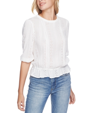 Image of 1.state Cinched-Waist Eyelet Top