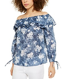 Bleached-Floral Off-The-Shoulder Top, Regular & Petite Sizes