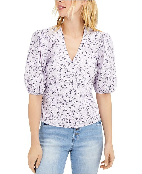 INC International Concepts INC Floral Puff-Sleeve Blouse, Created for Macy's