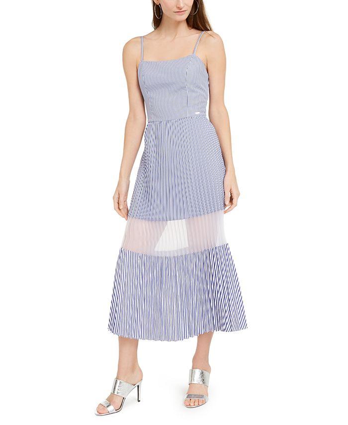 A X Armani Exchange - Striped Pleated Dress