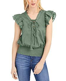 INC Cotton Tie-Front Ruffle-Sleeve Top, Created for Macy's
