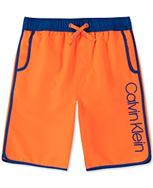 Big Boys Contrast-Trim Logo Swim Trunks