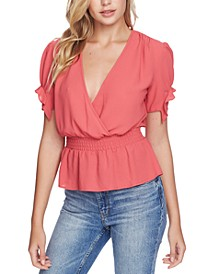 Smocked-Waist Ruffle-Sleeve Top