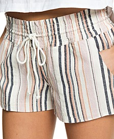 Juniors' Oceanside Striped Shorts