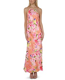 Juniors' Floral-Print Halter Gown