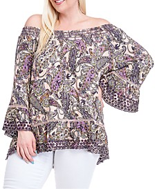 Plus Size Printed Smock-Neck Top