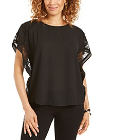 Plus Size Lace-Trim Ruffle Top, Created for Macy's