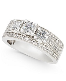 Diamond Princess Three-Stone Ring (1 ct. t.w.) in 14k White Gold