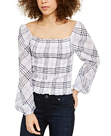 INC Petite Metallic Plaid Smocked Top, Created for Macy's