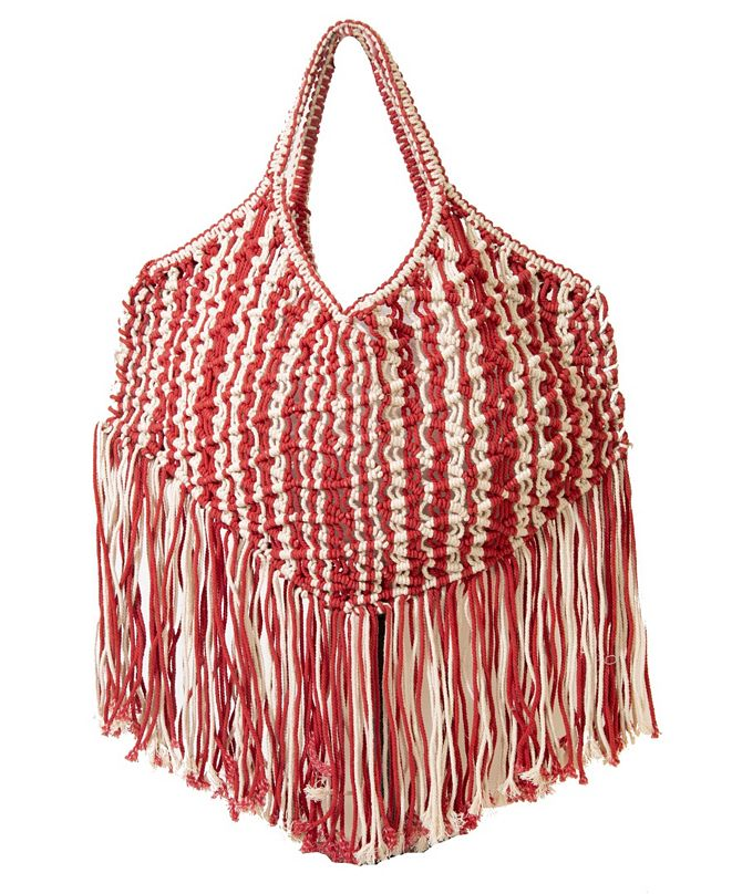 Area Stars Macrame Woven Bag in Cotton with Cotton Fringe Details