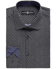 Men's Slim-Fit No-Iron Stretch Square Print Dress Shirt