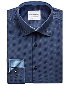 Men's Slim-Fit Mini-Check Performance Stretch Cooling Comfort Dress Shirt