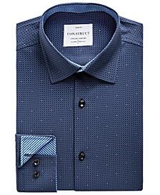 Men's Slim-Fit Mini-Check Performance Stretch Cooling Comfort Dress Shirt