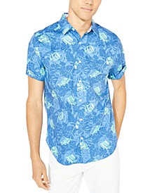 Men's Blue Sail Fish-and-Leaf-Print Shirt, Created for Macy's