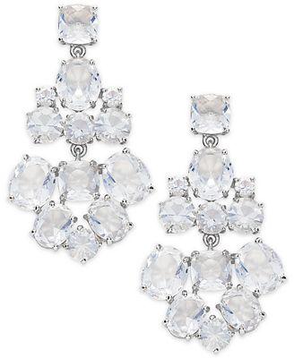 kate spade new york Earrings, Silver-Tone Glass Bead Chandelier ...