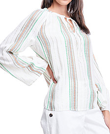 Fever Striped Tie-Neck Top