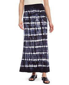 Tie-Dyed Pull-On Midi Skirt