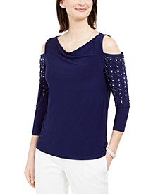 Drape-Neck Beaded Cold-Shoulder Top