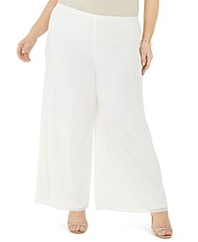 Plus Size Mesh Wide-Leg Pants