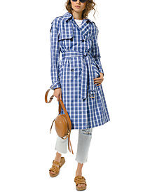 Michael Michael Kors Plaid Trench Coat
