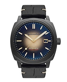 Men's Hull Riviera Automatic Black Croco-Patterned Genuine Leather Strap Watch 42mm