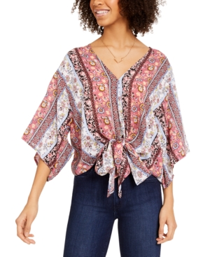 Polly & Esther Juniors' Printed Tie-Front Dolman-Sleeved Top