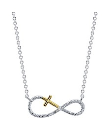 Gratitude & Grace Two-Tone Cubic Zirconia Infinity and Cross Pendant Necklace