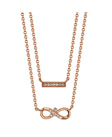 Gratitude & Grace Rose Gold Flash Plated Cubic Zirconia Infinity and Bar Layer Pendant Necklace