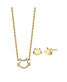 2-Pc. Set Mini Cat Necklace & Stud Earrings in Gold Tone Fine Plated Silver, Created for Macy's