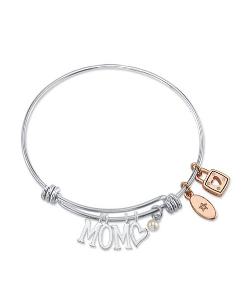 "Unwritten ""MOM"" Adjustable Bangle Bracelet in Stainless Steel"