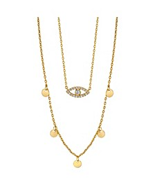 Gold Flash Plated Cubic Zirconia Evil Eye Layered Pendant Necklace with Beaded Second Chain