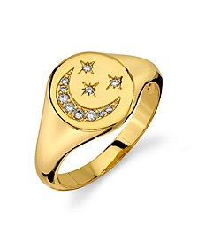 Silver Plated Cubic Zirconia Gold Moon and Stars Signet Ring