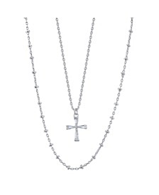 Fine Silver Plated Clear Cubic Zirconia Cross Duo Necklace with Beaded Second Chain