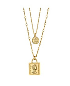 Gold Flash Plated Coin Layered Pendant Necklace
