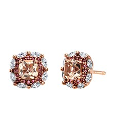 Rose Gold Flash Plated Clear and Peach Pink Cubic Zirconia Post Stud Earrings by David Tutera Everyday Celebrations