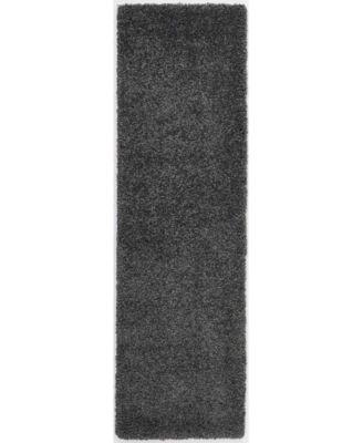 """Cali Shag CAL01 Charcoal 2'2"""" x 7'6"""" Runner Rug"""